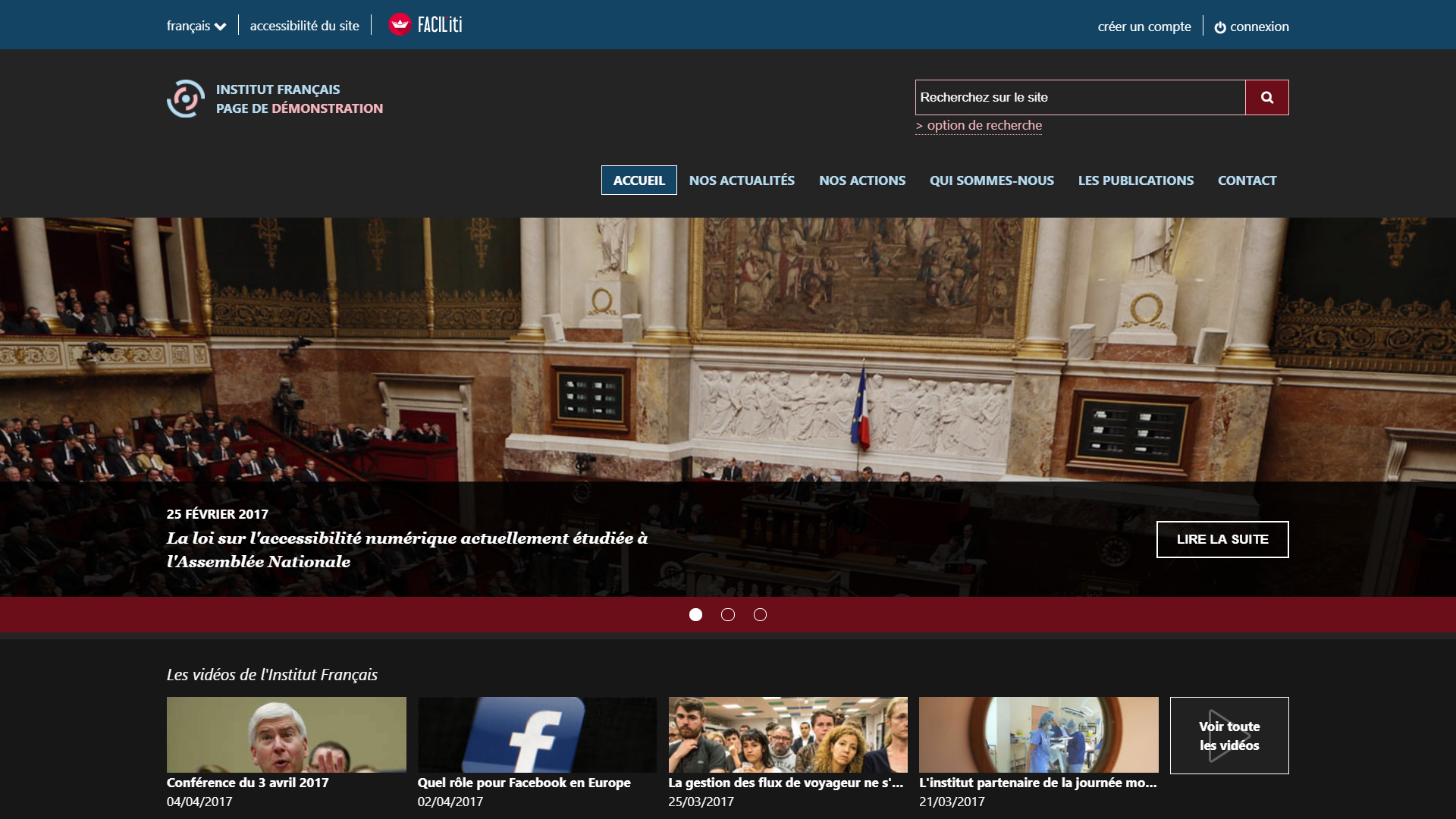 Une page d'accueil d'un site de démonstration avec FACIL'iti activé pour la pathologie Cataracte