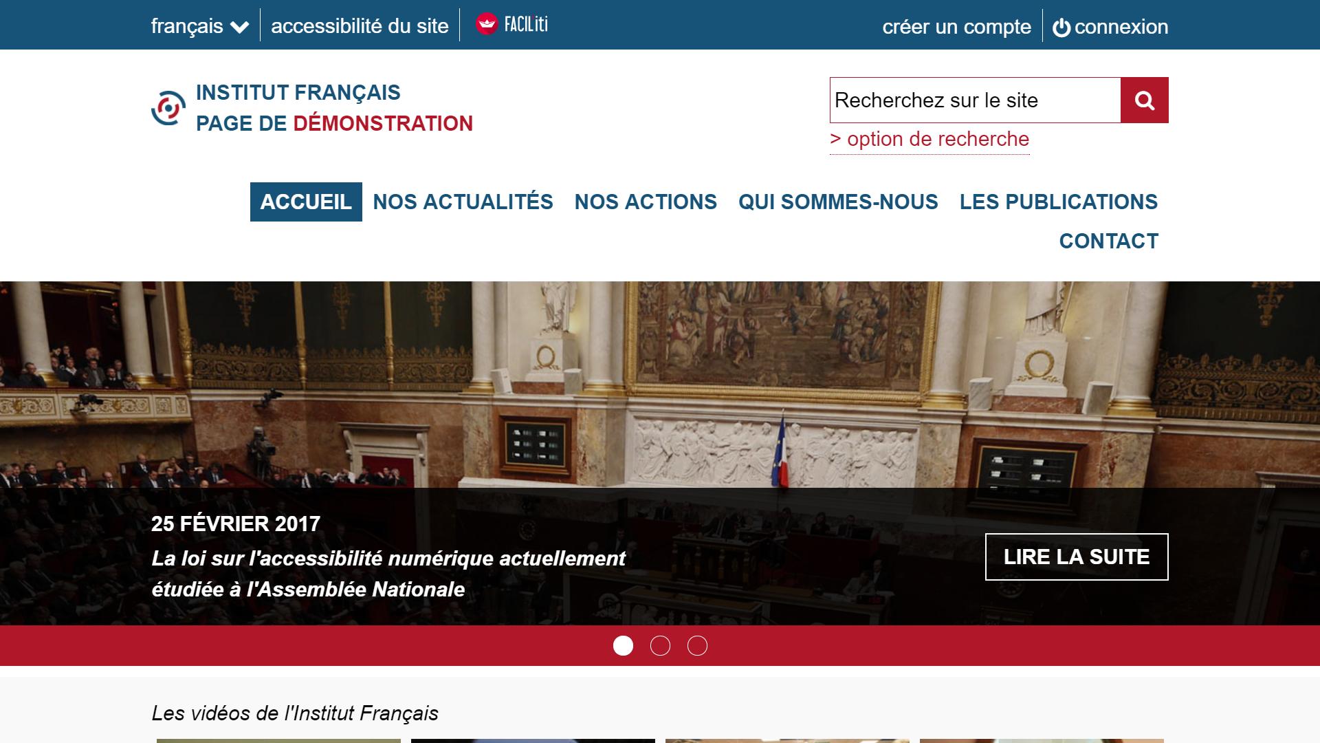 Une page d'accueil d'un site de démonstration avec FACIL'iti activé pour la pathologie Malvoyance