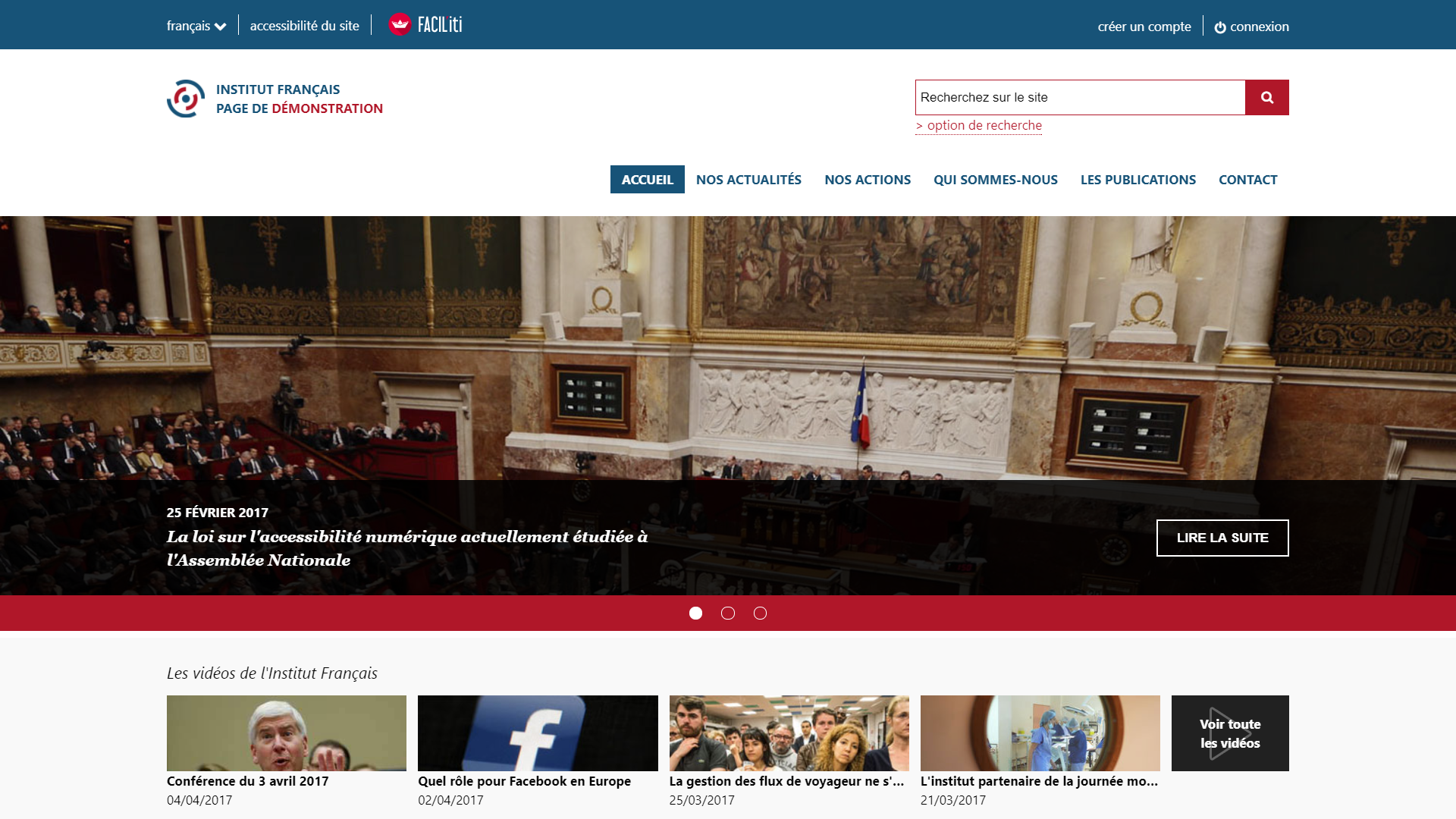 Une page d'accueil d'un site de démonstration avec FACIL'iti activé pour la pathologie Presbytie