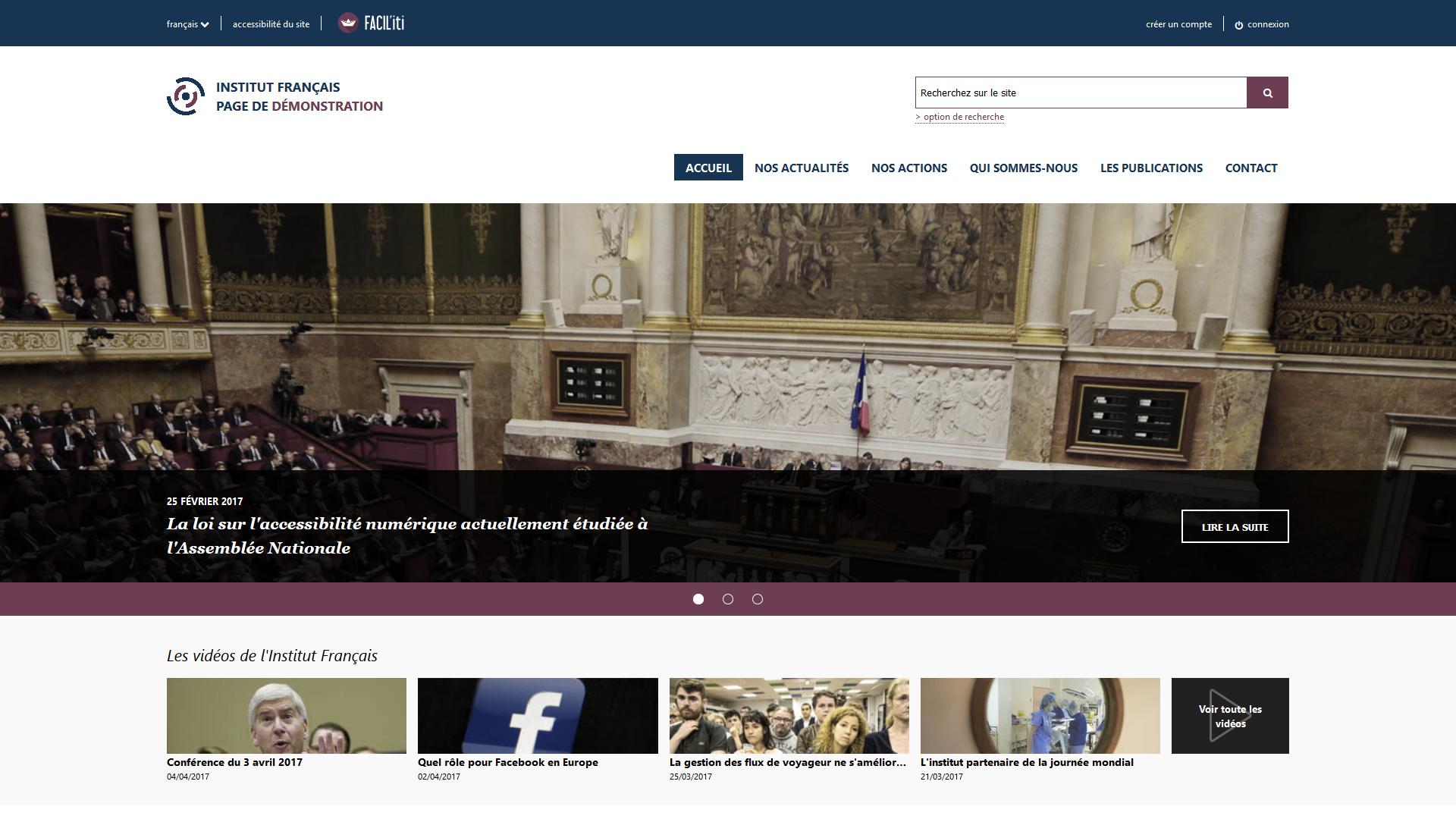Une page d'accueil d'un site de démonstration avec FACIL'iti activé pour la pathologie Protanopie
