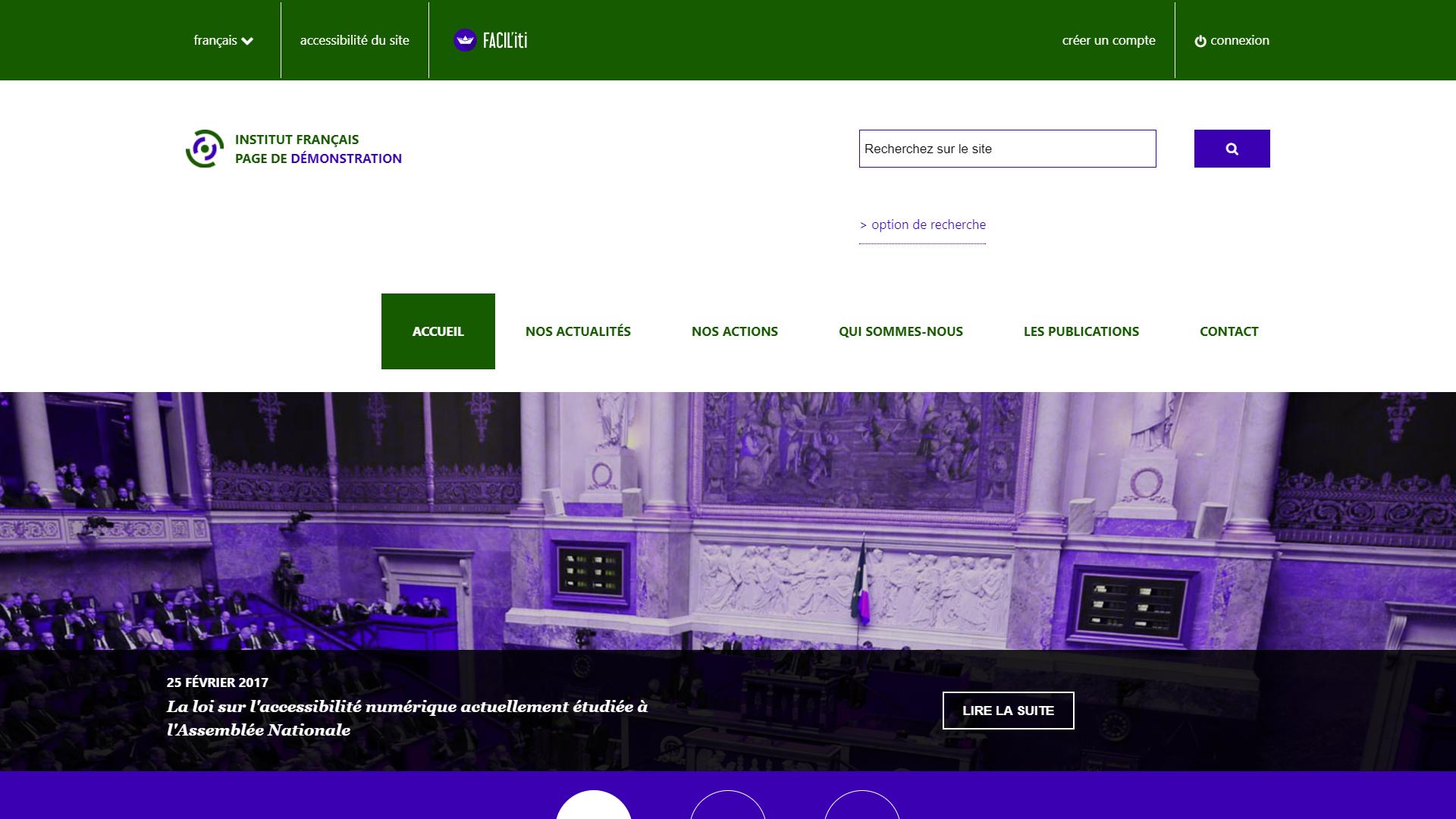 Une page d'accueil d'un site de démonstration avec FACIL'iti activé pour la pathologie maladie de Parkinson