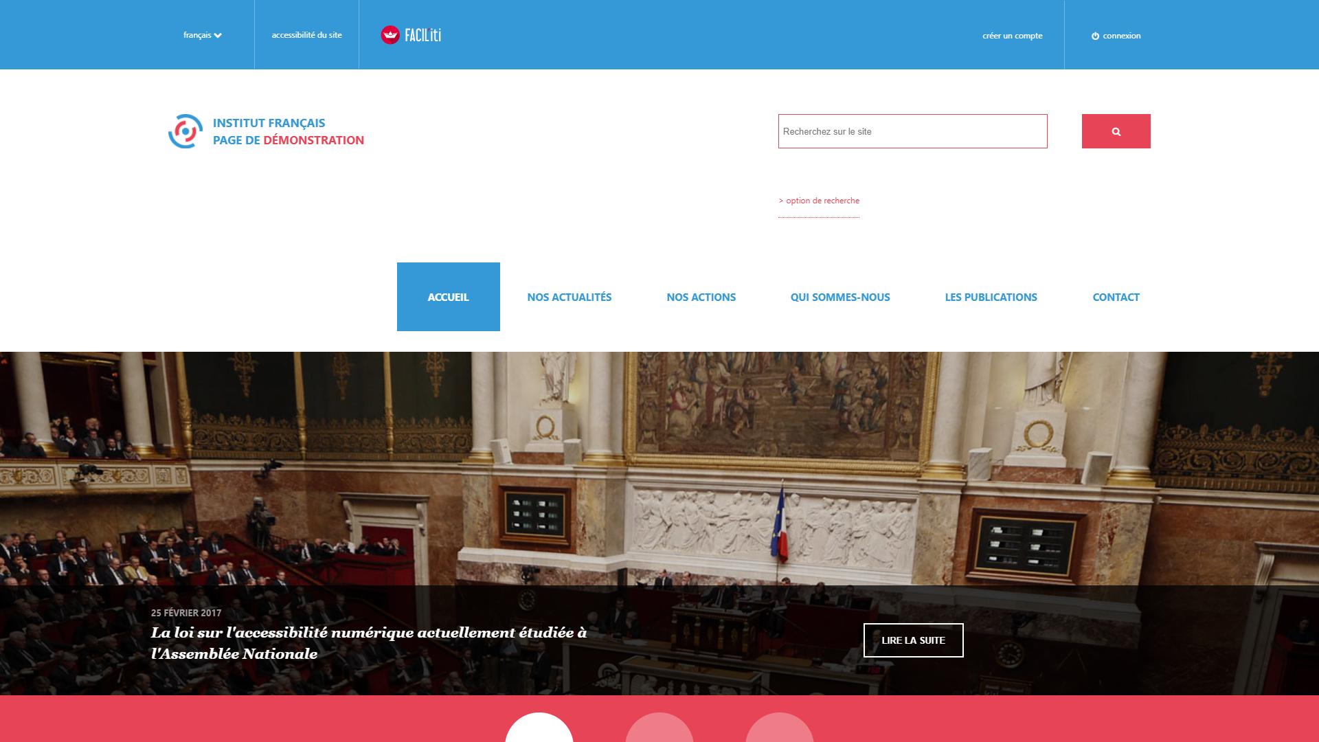 Une page d'accueil d'un site de démonstration avec FACIL'iti activé pour la pathologie Tremblements Essentiels