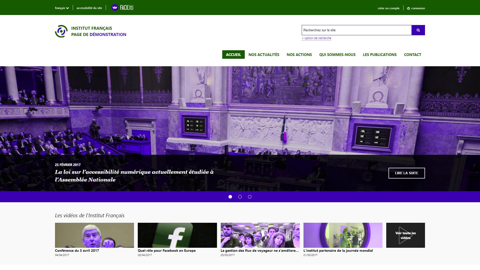 Une page d'accueil d'un site de démonstration avec FACIL'iti activé pour la pathologie Tritanopie