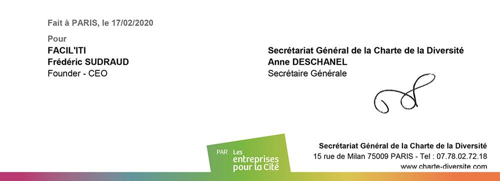 Frédéric Sudraud signe la Charte de la Diversité le 17 février 2020
